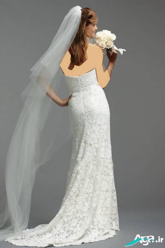 لباس عروس همراه با تور بلند