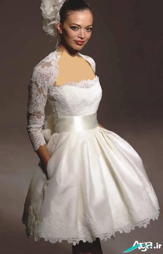 لباس عروس آستین دار همراه با کمربند