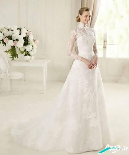 لباس عروس یقه دار