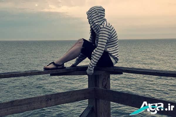 عکس عاشقانه غمگین لب دریا