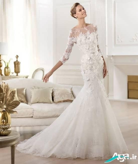 لباس عروس دنباله دار و پوشیده