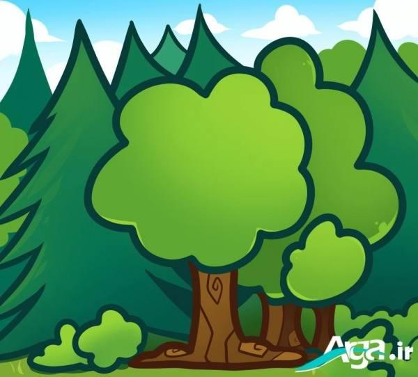 نقاشی درختان طبیعت