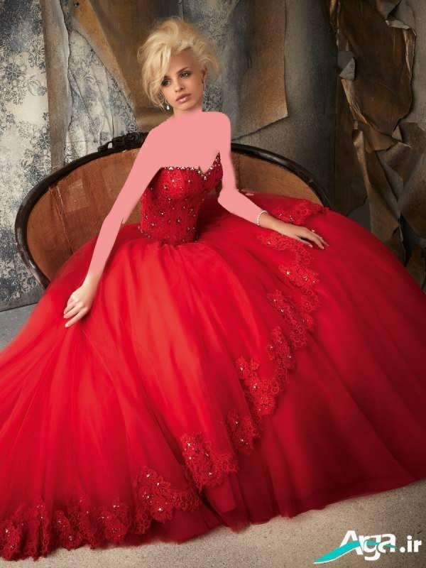 لباس عروس پفی قرمز