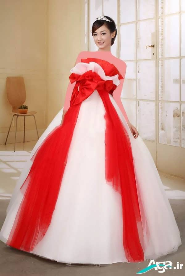 لباس عروس پفی قرمز سفید
