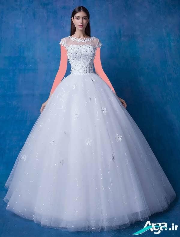 لباس عروس پفی آستین کوتاه