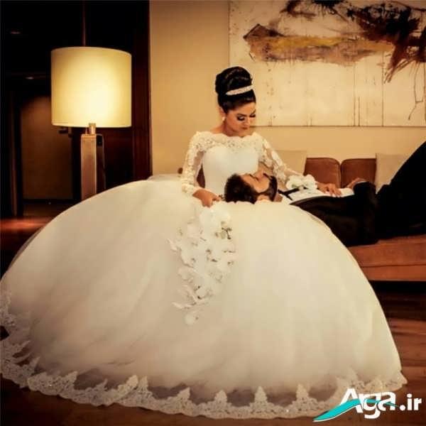 لباس عروس پفی پوشیده