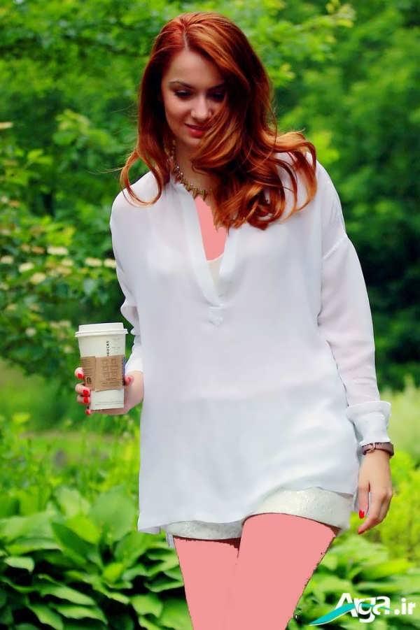 مدل بلوز حریر سفید دخترانه