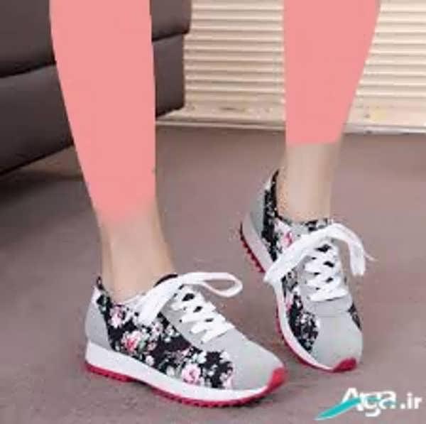 کفش کتانی دخترانه گلی