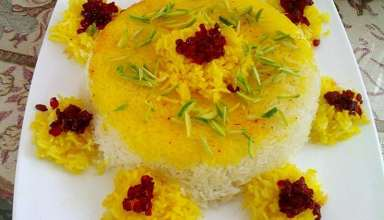 تزیین برنج با زعفران