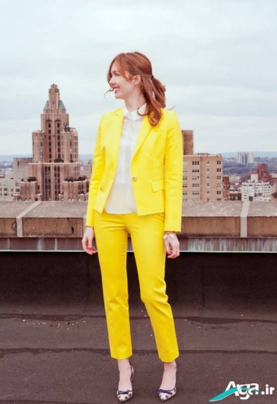 مدل کت و شلوار دخترانه ساده با رنگ زرد