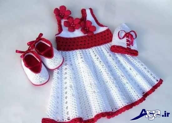 مدل کفش و کلاه بافتنی ویژه نوزادان دختر