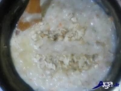 روش پخت سوپ شیر با جو و قارچ