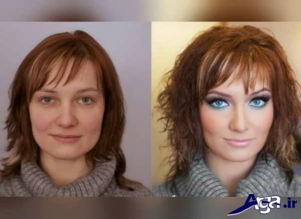 مدل آرایش چشم رنگی به همراه عکش قبل از آرایش