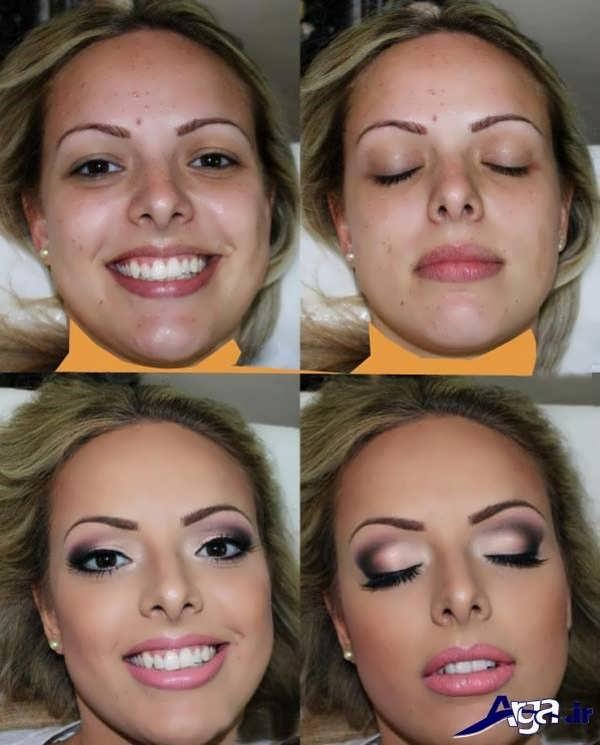 آرایش زنانه به همراه عکس های قبل و بعد از میکاپ