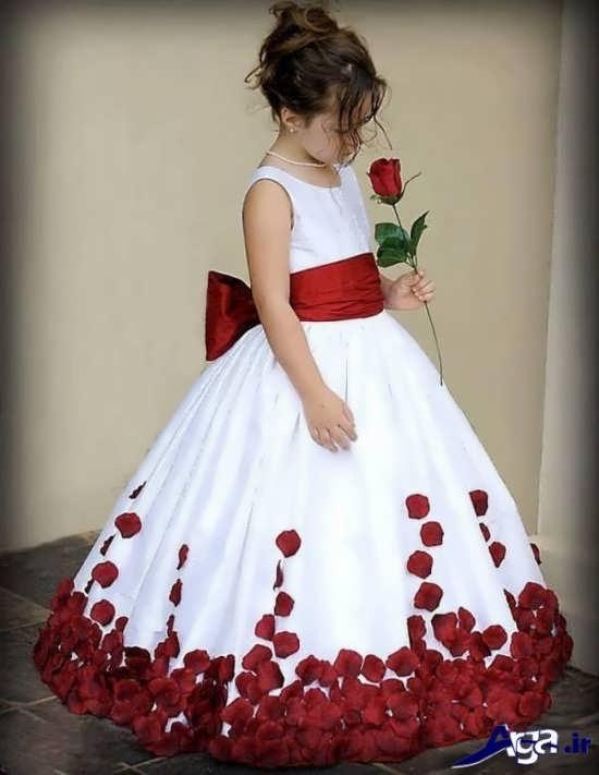 لباس عروس سفید و قرمز بچه گانه
