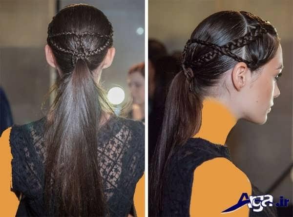 مدل بستن مو های بلند به کمک بافت مو و کش مو