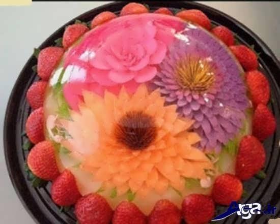 مدل های تزیین زله رنگین کمان با میوه جات