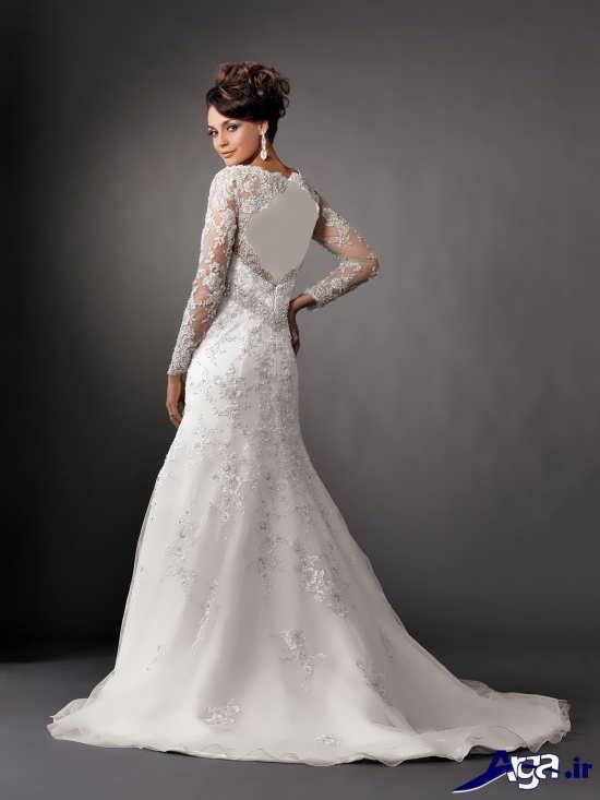 لباس عروس آستین دار با طرح بلند