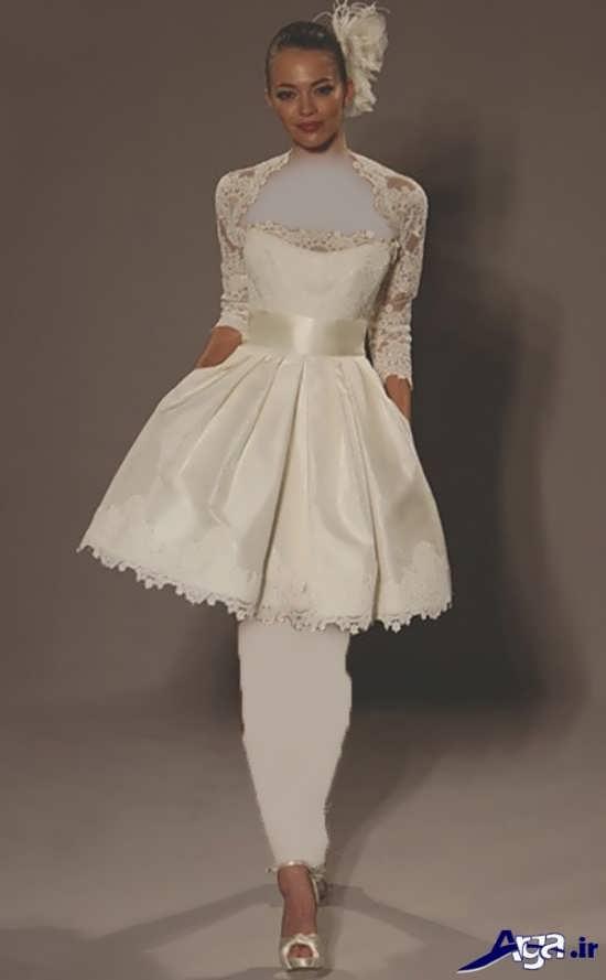 لباس عروس کمری دار آستین دار