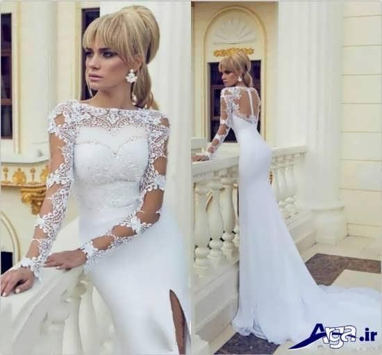 لباس عروس آستین دار با مدلی شیک و مدرن