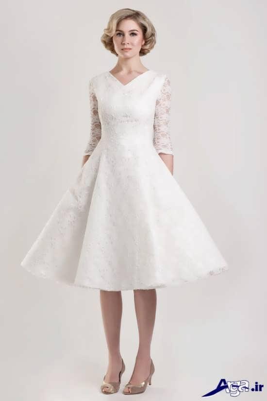 لباس عروس کوتاه آستین دار