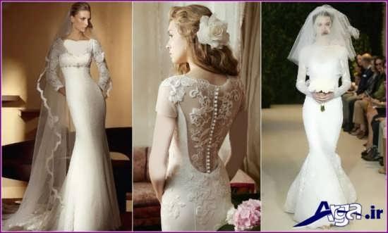 انواع مدل های لباس عروس آستین دار