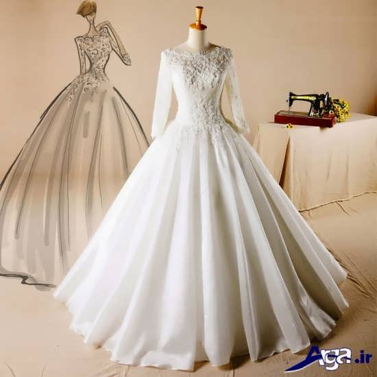 لباس عروس آستین دار پفی