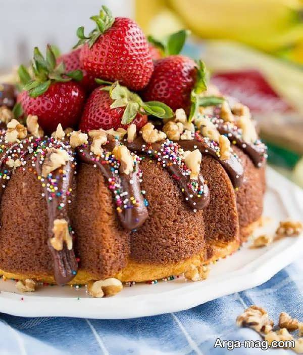 تزیینات شیک کیک خانگی با میوه