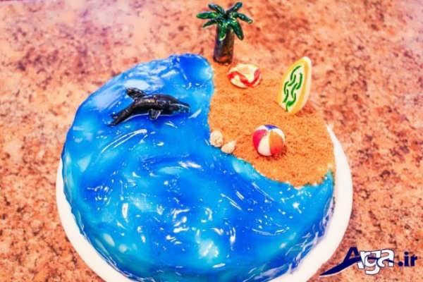 تزیین کیک خانگی با طرح دریا و ساحل