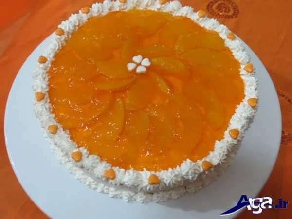تزیین کیک با استفاده از ژله و خامه