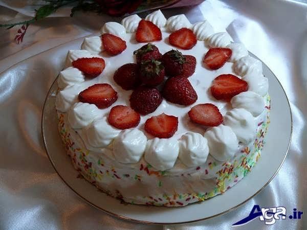 تزیین کیک با میوه های طبیعی