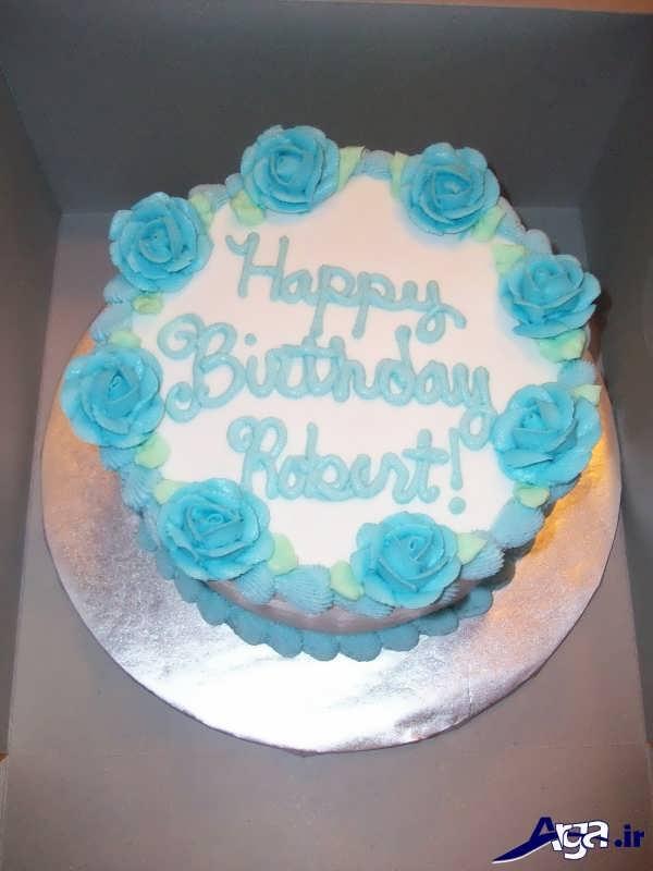 تزیین کیک با خامه آبی