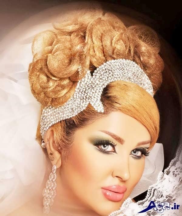 مدل آرایش لایت و شینیون بسته عروس