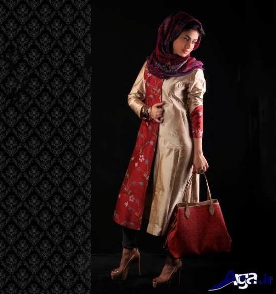 مدل مانتو فانتزی دو رنگ