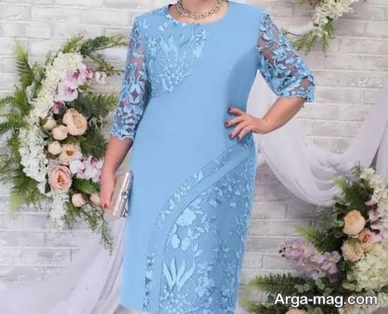 لباس مجلسی سایز بزرگ آبی