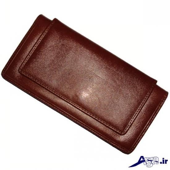 کیف پول چرم قهوه ای مردانه