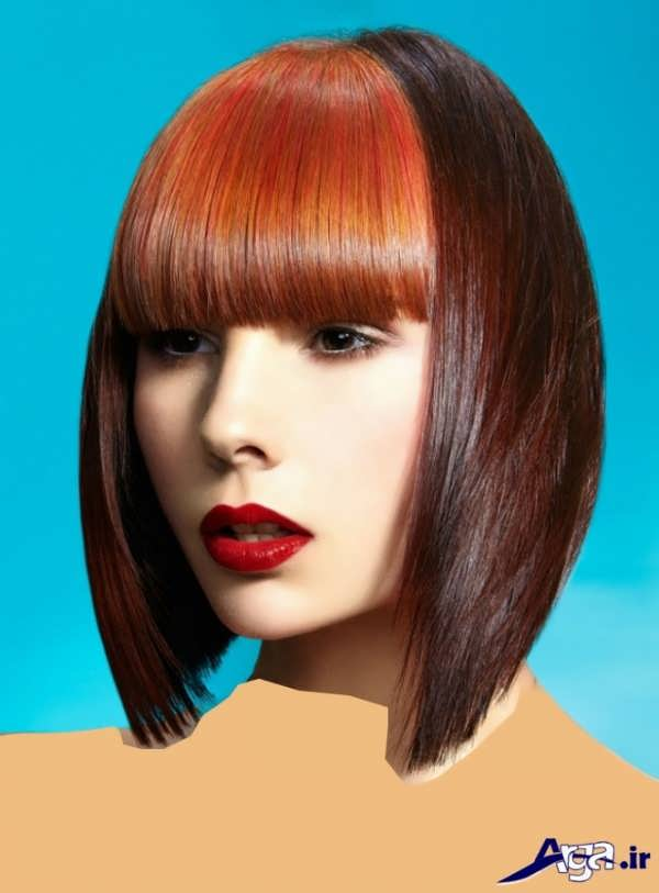مدل موی دخترانه چتری با رنگ فانتزی
