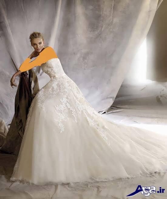 مدل لباس عروس 2016 دکلته دنباله دار