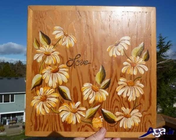 نقاشی ساده روی چوب