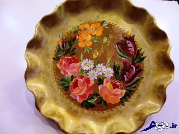 نقاشی روی ظرف چوبی