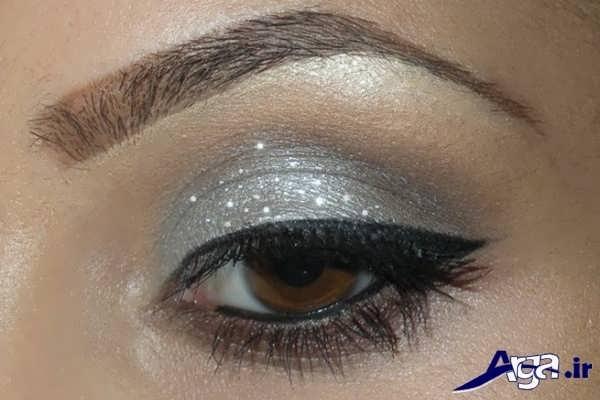 آرایش چشم با سایه نقره ای