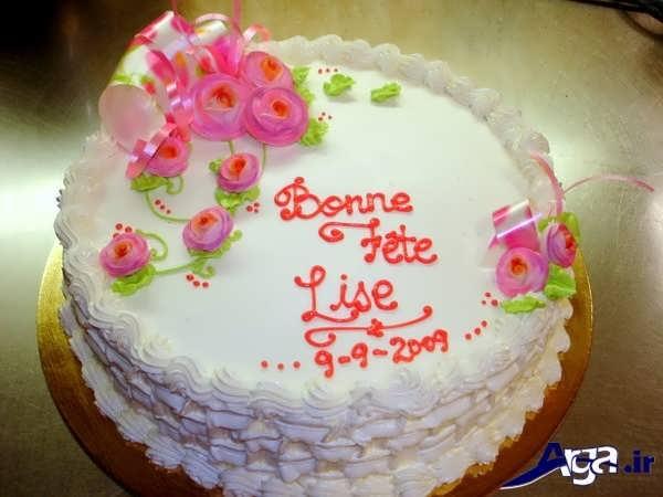 تزیین کیک خانگی بت انواع خامه های رنگی
