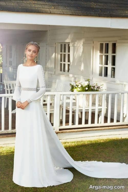 لباس عروس زیبا آستین دار