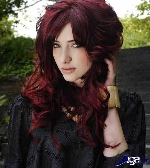 مدل مو بلند همراه با رنگ موی شرابی