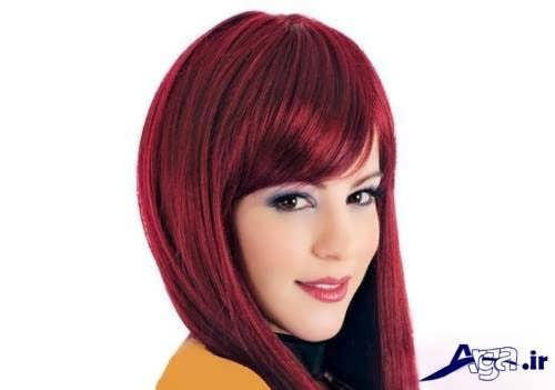 مدل مو زیبا با رنگ شرابی