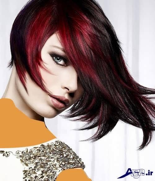 مدل موی کوتاه به همراه رنگ موی شرابی فانتزی