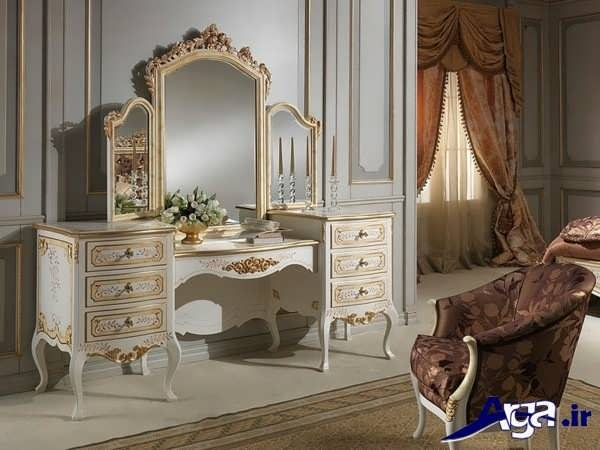 میز آرایش سفید در اتاق خواب