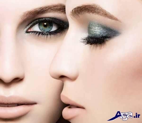 مدل آرایش ملایم صورت برای چشم رنگی