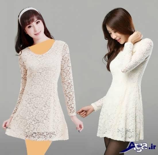 مدل لباس مجلسی گیپور سفید