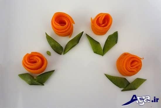 طرح گل هویج تزیین شده
